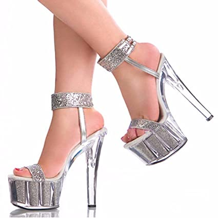 bd70ca46f56 GTVERNH Sexy Nightclub Women S Shoes Thick Bottom Crystal Shoes Sequins  Wedding Shoes 15Cm Super Heels Sandals