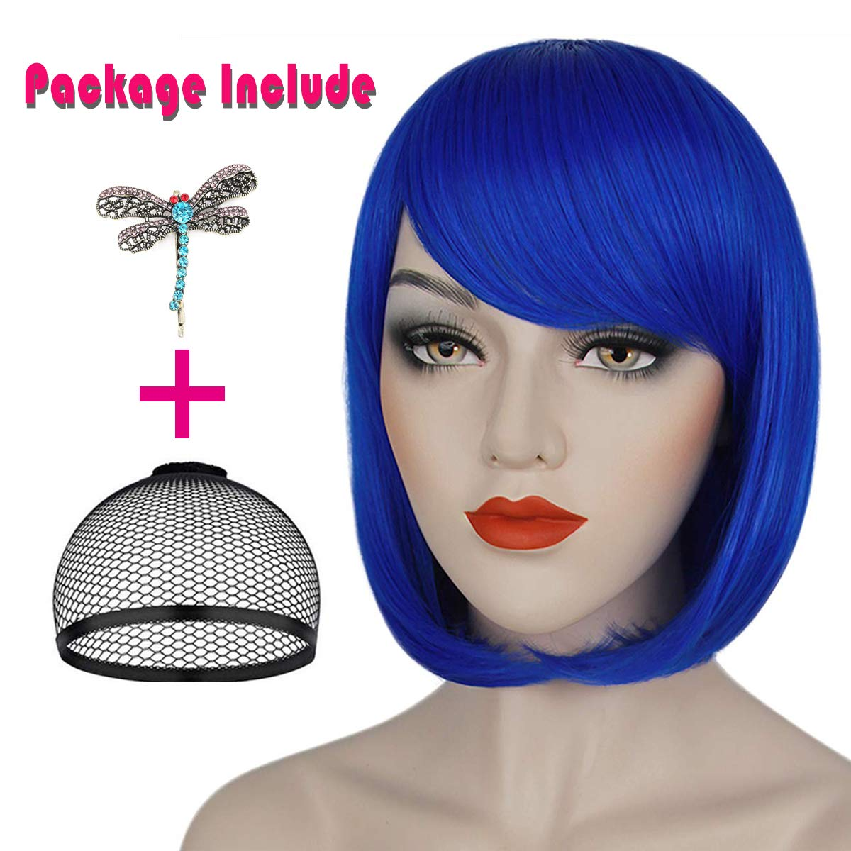 Amazon Com Ruina Coraline Wig Blue Bob Cosplay Costume Wigs For Women Girls Short Straight Hair Wig With Bangs Cute Heat Resistant Synthetic Wigs For Party Halloween R020bl Beauty