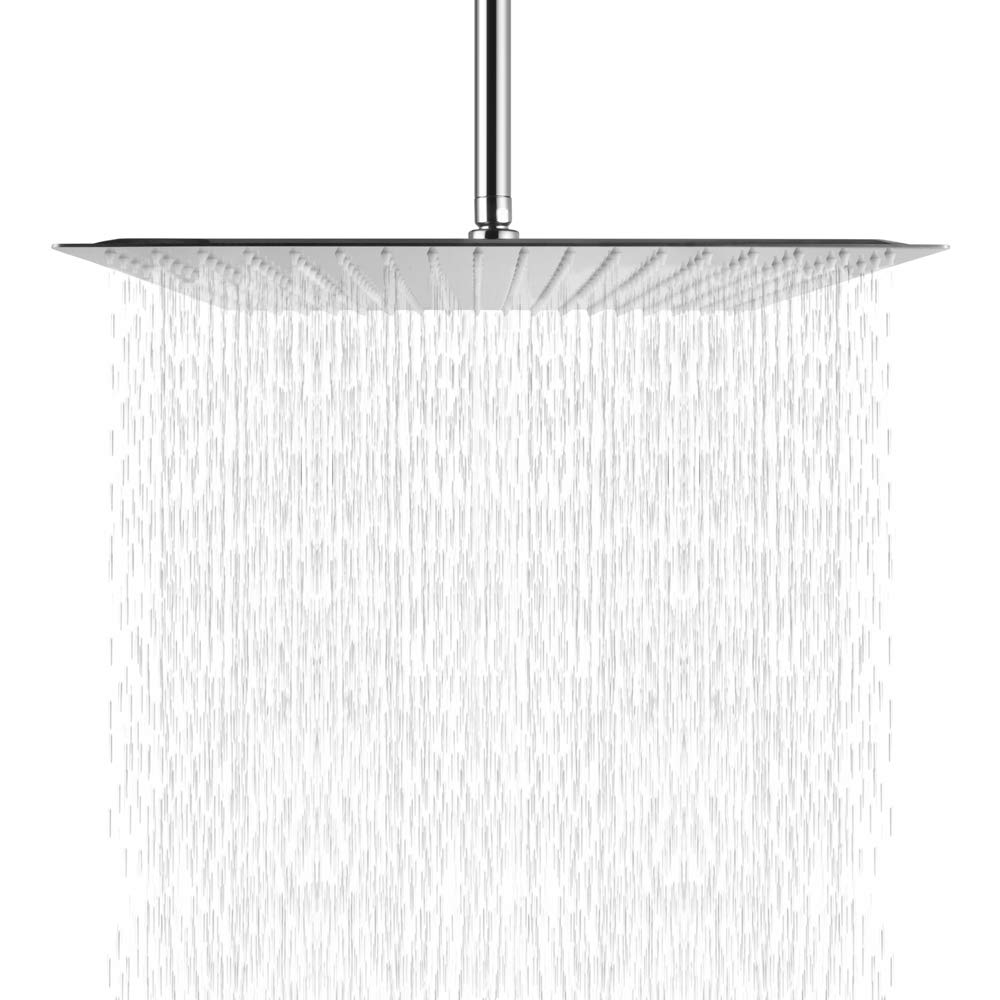 SARLAI Solid Square Ultra Thin 304 Stainless Steel 16 Inch Rain Shower Head, Chrome Finish