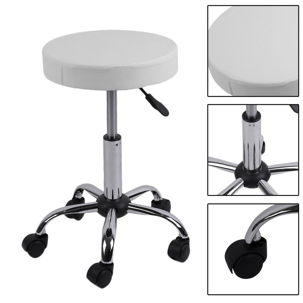 Drafting Stool Coldcedar Beauty Salon Rolling Stool Tattoo Massage Facial Spa Adjustable Stool Chair with Metal Chrome Frame (white)