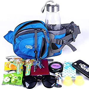EGOGO travel sport waist pack fanny pack hiking bag with water bottle holder (Blue)
