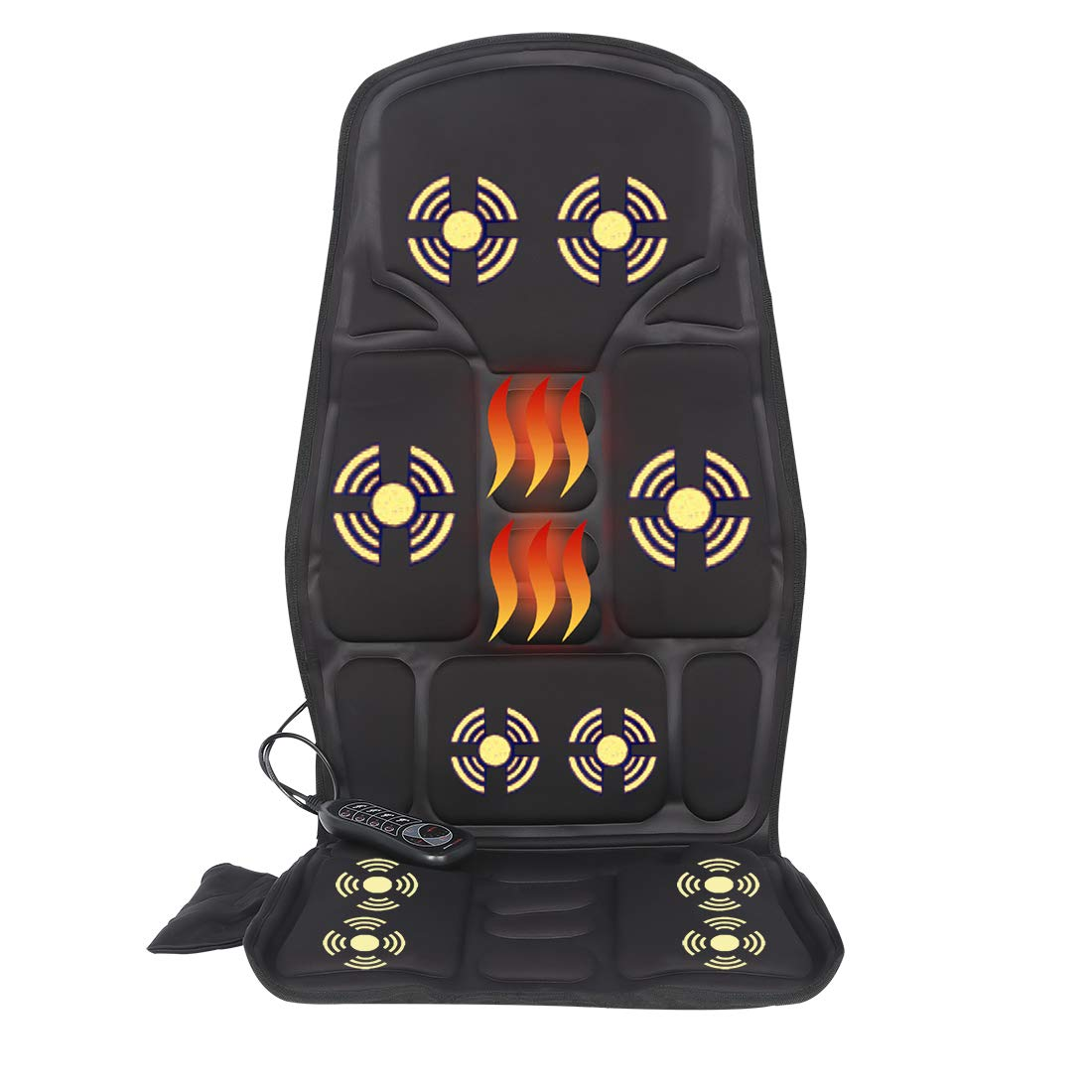 Sotion Vibrating Car Seat Back Massager for Car Chair Massage Pad Cushion, 10 Motors Vibration Heating Therapy to Relieve Stress for Back, Shoulder and Thighs