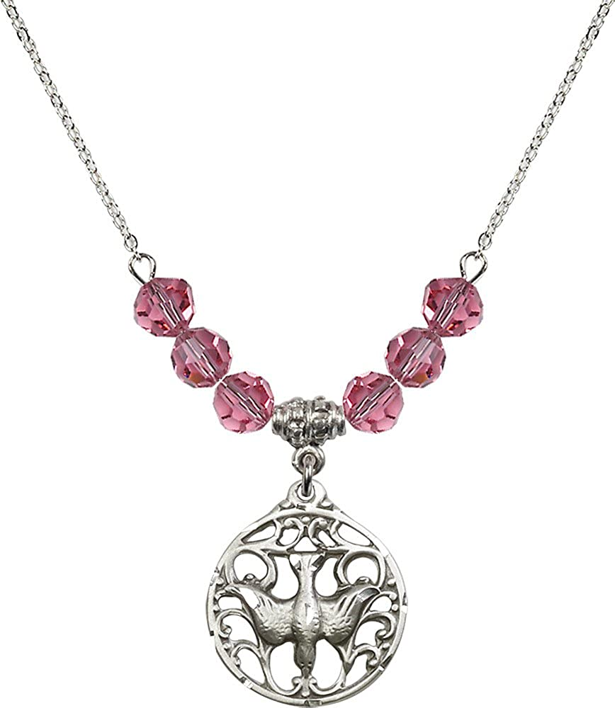 18-Inch Rhodium Plated Necklace with 6mm Rose Birthstone Beads and Sterling Silver Holy Spirit Charm.