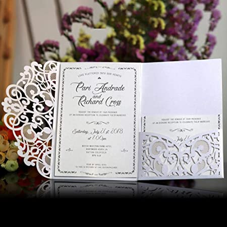 10pcs Laser Cut Lace Party Wedding Invitation Greeting Cards Envelope Kit ^e