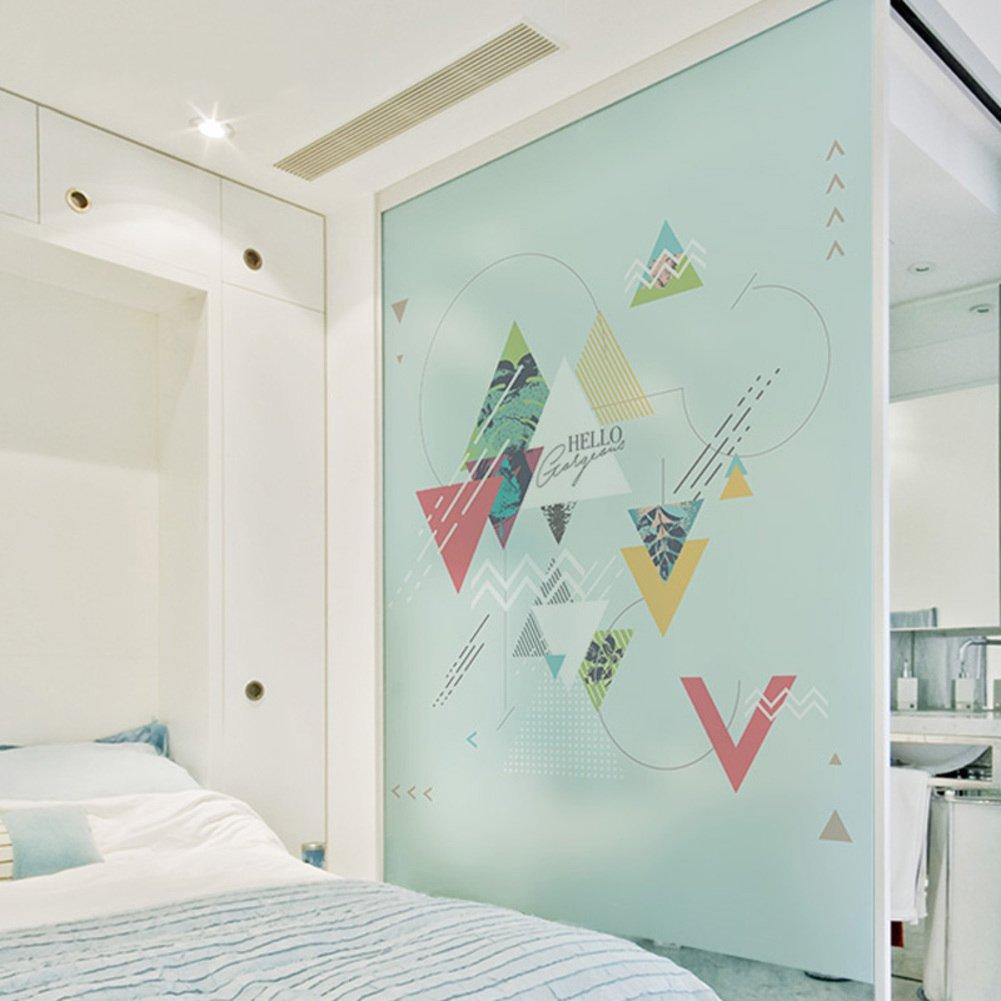 YQ WHJB Office No glue static film,Frosted privacy window film,Decorative Glass Pvc Waterproof Reusable Window decal Sticker-B 60x80cm(24x31inch)
