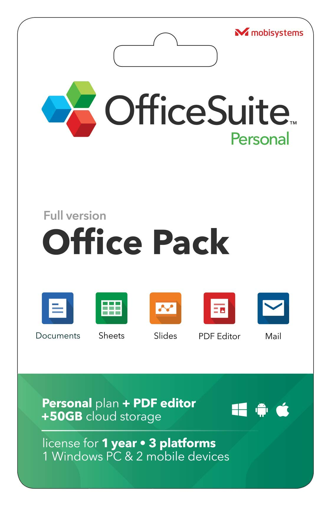 OfficeSuite Personal Compatible with Microsoft® Office Word Excel & PowerPoint® and Adobe PDF for PC Windows 10 8.1 8 7 - 1-year license, 1 user by MobiSystems