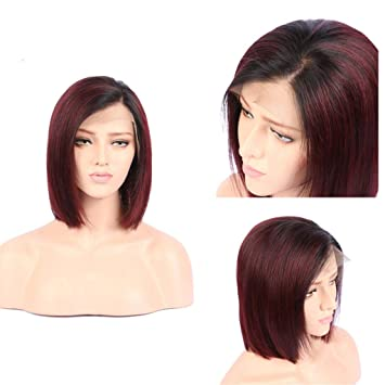 XRS Hair Wig 1B/99J Color Ombre Color Lace Front Bob Human Hair Wigs for