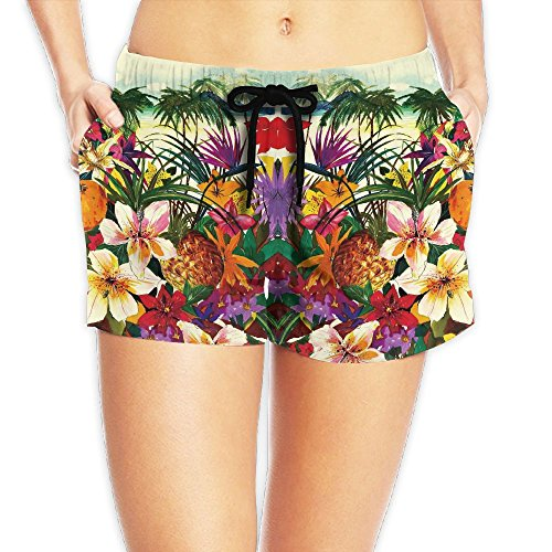 Summer Tropical Print Women Color Fashion Swim Trunks Quick