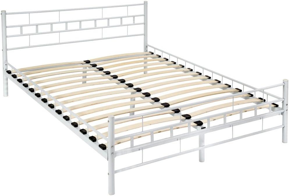 TecTake Cama de Metal Estructura con somier - Varios Modelos - (140x200cm, Blanco)