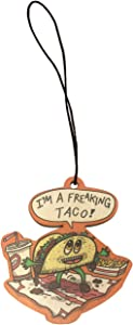 Freakin Taco Funny Mexican Food Cartoon Humor Engraved Printed Wooden Rear View Mirror Car Charm Dangler