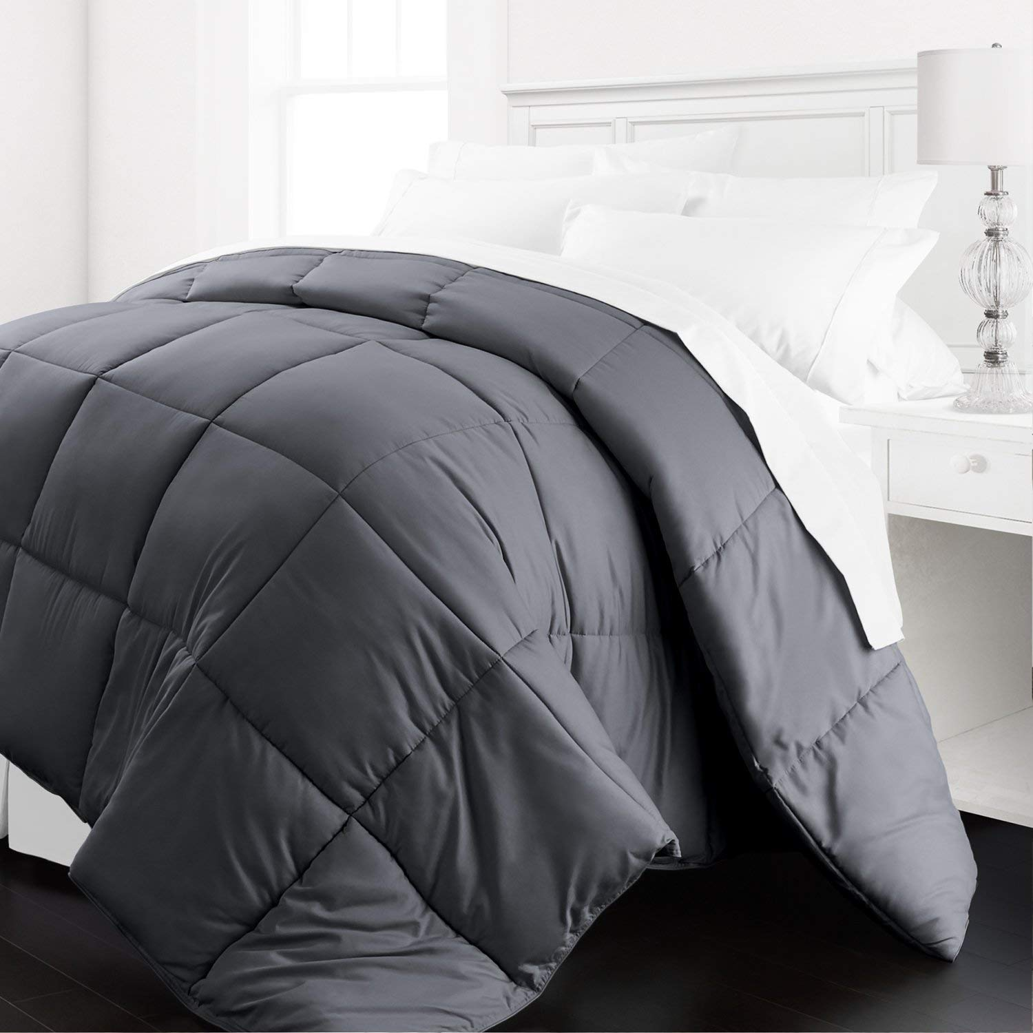 Beckham Hotel Collection - Lightweight All Season - Luxury Goose Down Alternative Comforter - Hotel Quality Comforter and Hypoallergenic  -Full/Queen - Gray