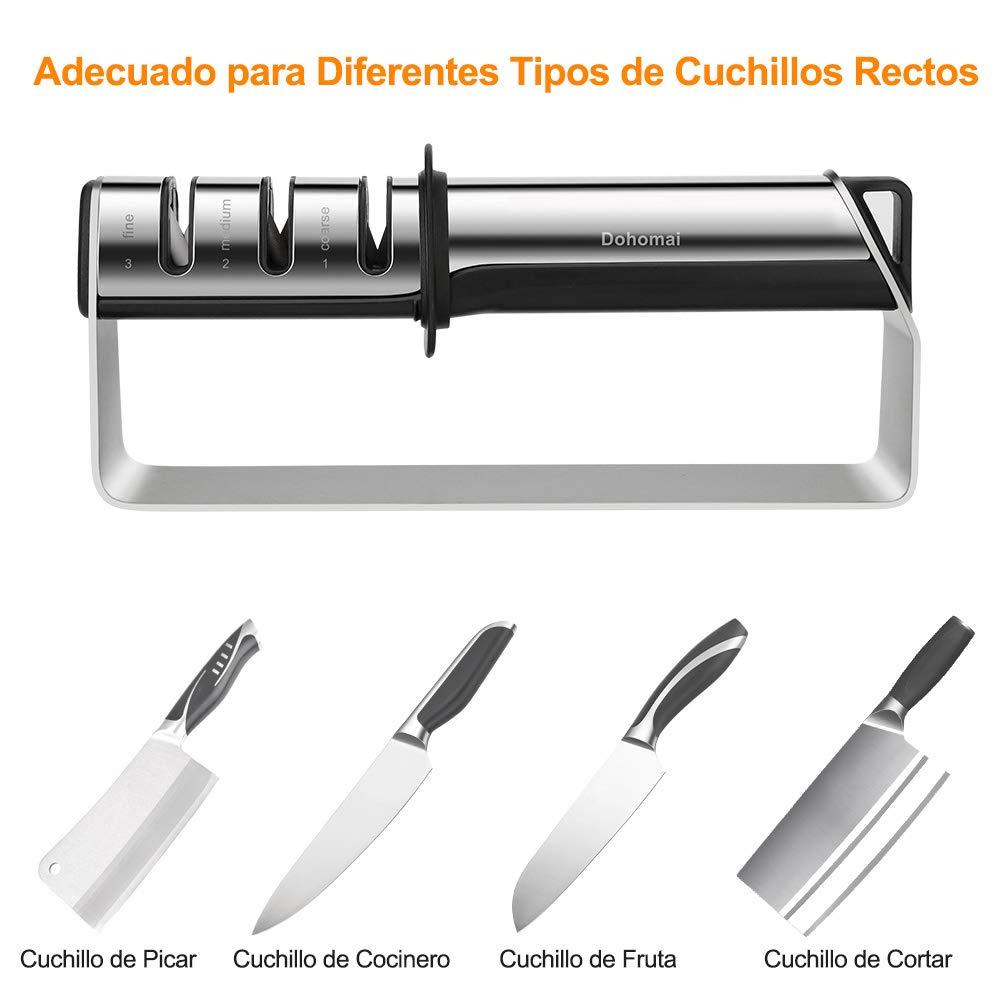 Dohomai Afilador de Cuchillos de Cocina, Acero Inoxidable de Versión Mejorada, Herramienta Manual para Afilar Cuchillos de 3 Etapas, Varilla de ...
