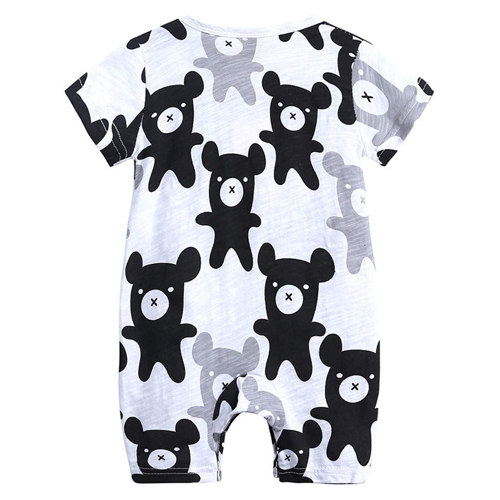 Toddler Newborns Girls Boys Cartoon Floral Print BabySuits Outfits Short Sleeve Pants Pajamas RomperJumpsuits (Black, 12-18 M)