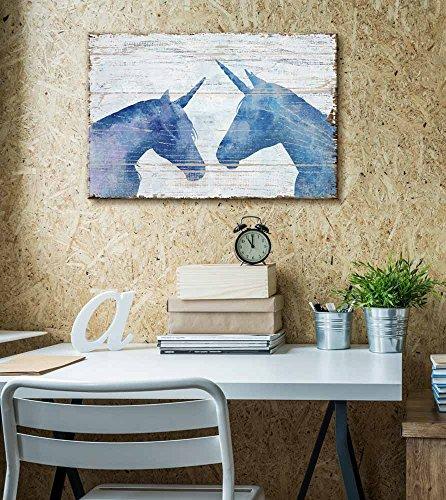 Vintage Style Blue Unicorn on Wooden Background