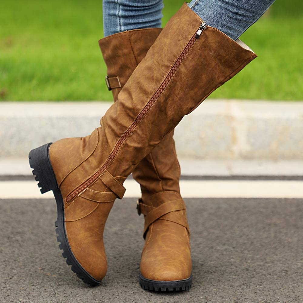 Dainzuy Womens Wide Calf Knee High Boots Retro Leather Classic Round Toe Low Heel Riding Boots with Zipper Buckle