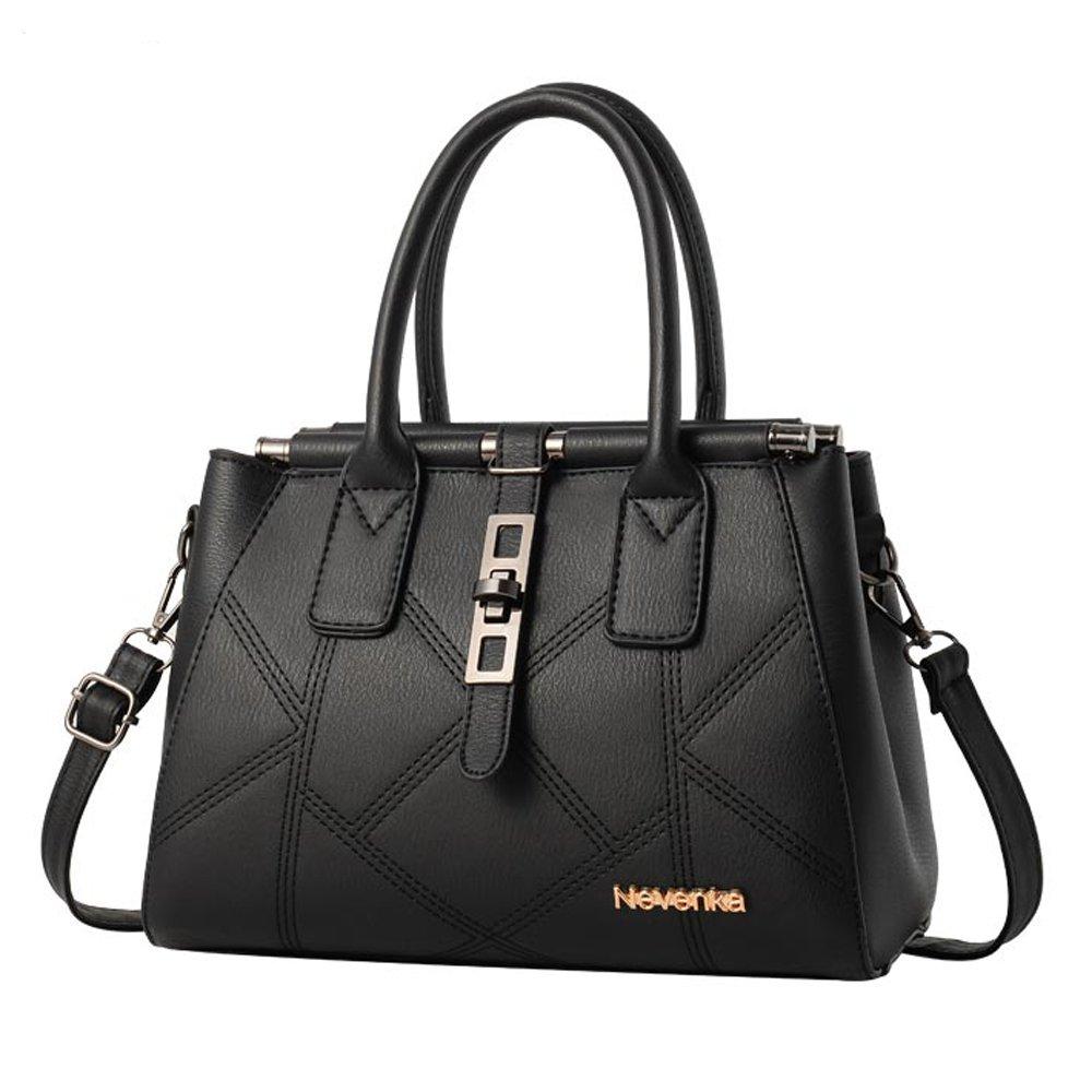 Nevenka PU Leather Handbag for Women Stitching Pattern Adjustable Shoulder Strap Top Handle Handbag with Ornaments (Style 1, Black)