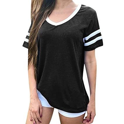 LILICAT® Camisas Sólidas para Mujer, 2018 Moda Casual Verano V Cuello Camisetas Casual Tops