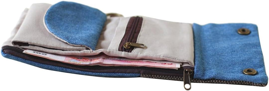 TININNA Damen M/ädchen Vintage Leinwand Geldb/örse Brieftasche Beutel Kleingeld Tasche Kleingeldbeutel Kleingeldb/örse Kreditkartentasche Blau EINWEG Verpackung