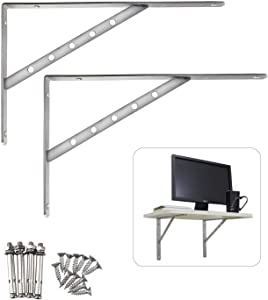 "Stainless Steel Solid Shelf Brackets,14"", Shelf Support Corner Brace Joint Right Angle Bracket L Shaped Wall Shelf,2 Packs,4mm Thinkness"