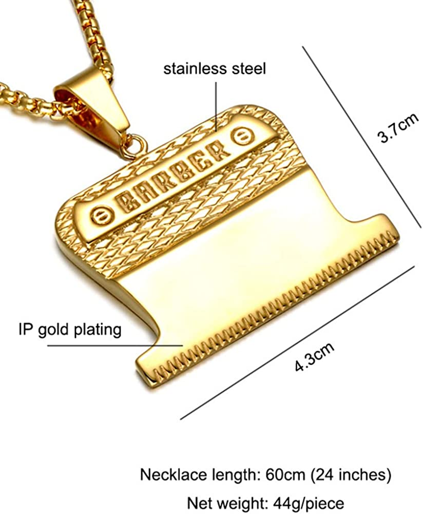 DABAIX Unisex Stainless Steel Barber Razor Shaver Hair Salon Pendant Necklace Comb 24 inch Chain