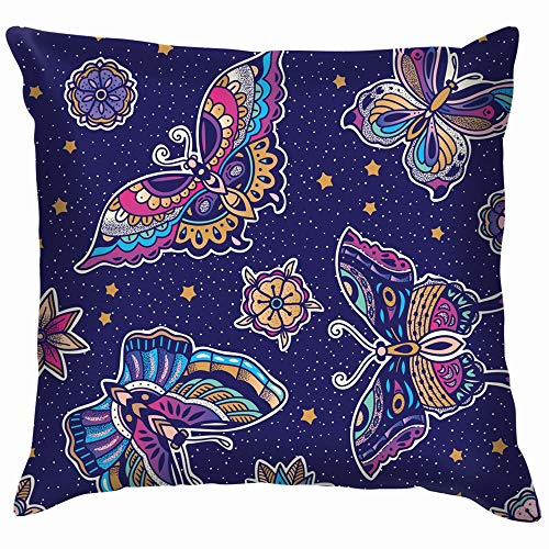Butterflies Traditional Tattoo Flash Boho Cotton Linen Home Decorative Throw Pillow Case Cushion Cover for Sofa Couch 12X12 Inch