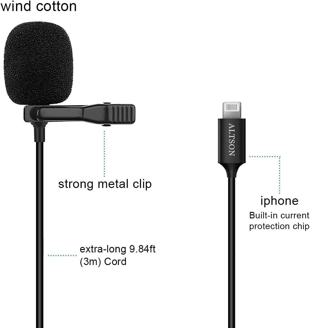 Black Altson Ultra-Compact clip-on lapel lavalier microphone for iPhone7//8//xr//xs//11//Plus//Pro//iPad//iPod for Podcast//YouTube//Interview//Vlog//Video//Lecture Recording 9.8ft Black Black