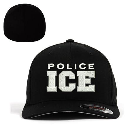 ICE U.S. Immigration and Customs Enforcement Flexfit Baseball Cap Military Hat  Black 016dd85fdd39