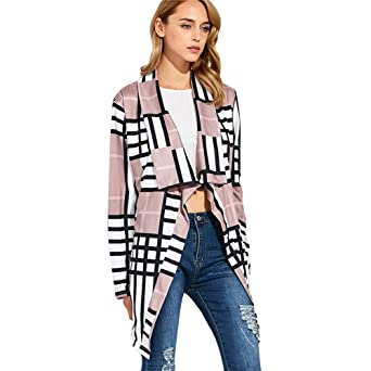 20f392a190800 Hpapadks Womens Buffalo Plaid Cardigans Long Sleeve Elbow Patch Draped Open  Front Cardigan Shirt at Amazon Women s Clothing store