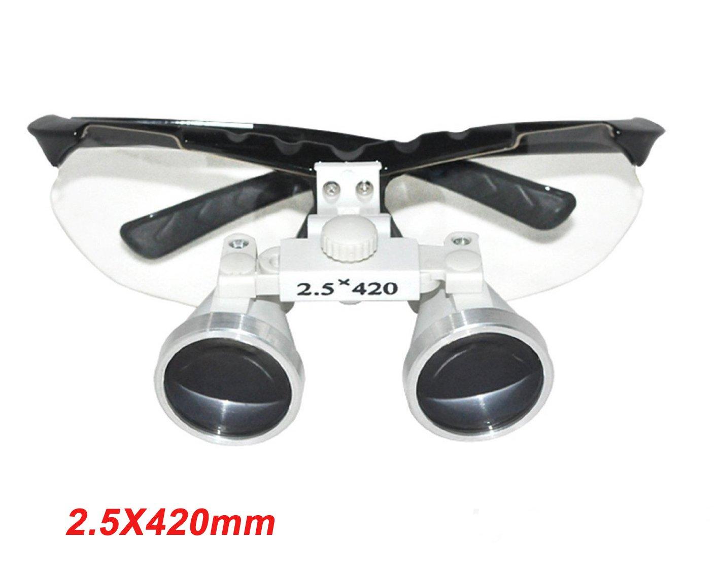 Zinnor (FBA) Dentist Dental Surgical Medical Binocular Loupes 2.5X 420mm Optical Glass Loupe - Black