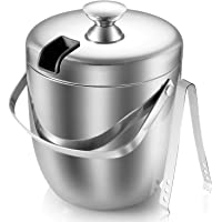 Ice Bucket - Double Walled Stainless steel Ice Bucket - Wine Bucket with Tongs & Thickened Lid (2.8 L) - Portable…