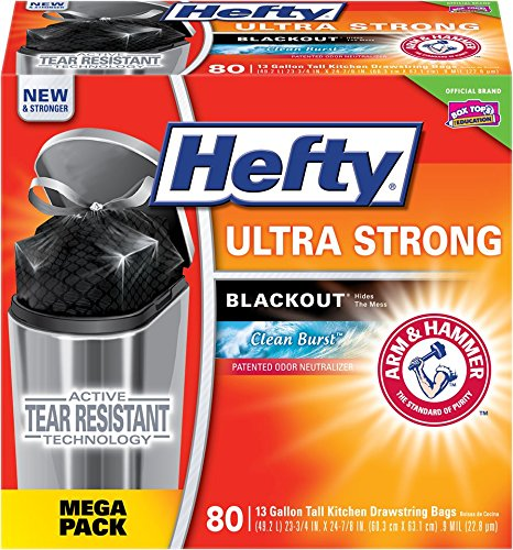 Hefty Ultra Strong Blackout Trash Bags (Clean Burst, Tall Kitchen Drawstring, 13 Gallon, 80 Count)