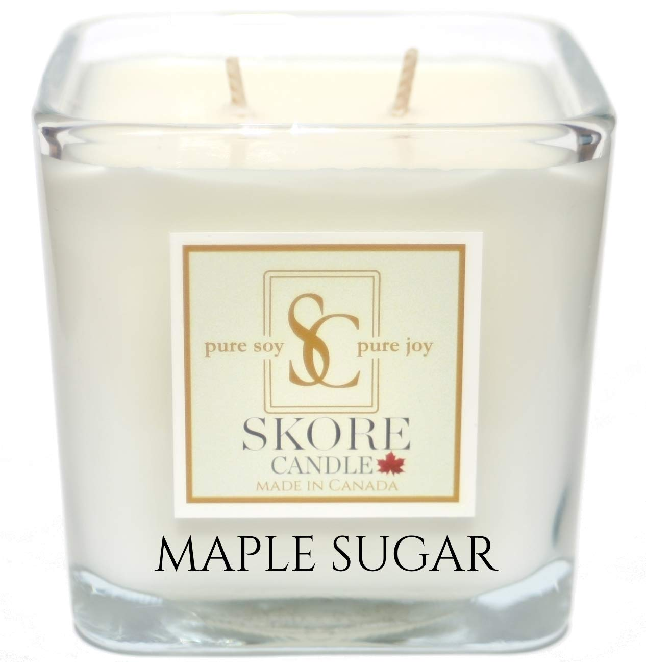 Skore Candle Maple Sugar Scented Soy Candles - Made in Canada with 100% pure natural soy wax. Large 14 oz Aromatherapy 2 wick in reusable square glass jar. Create beautiful scents in your living & dining room while eliminating kitchen & home odors