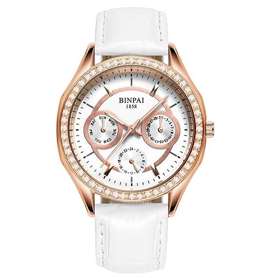 Mujeres oro rosa cuarzo correa de cuero reloj,Impermeable Sub diales El diamante Casual Vestido