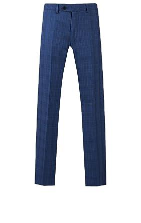 Pantalón de Traje Azul a Cuadros Entallado Ajustado de ...