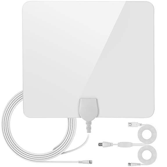TV Antenna, Wrcibo 50 Miles Upgraded 2 Amplifiers TV Antenna Indoor High Definition Signal Booster