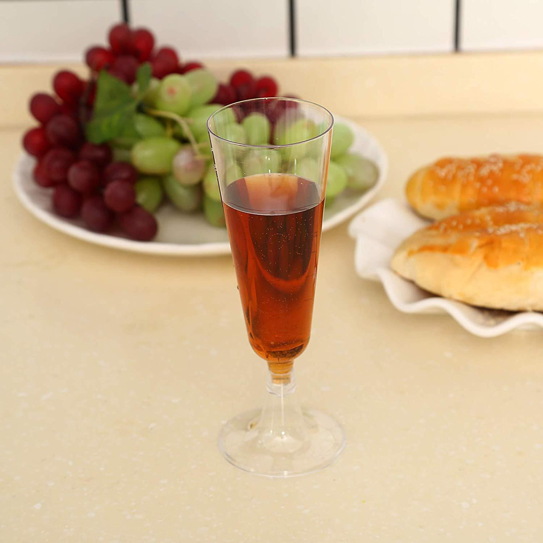 Glasklar Sektkelche H/öhe 16cm Sektgl/äser Plastik 50 St/ück Einweg Champagnergl/äser 0,1l Bruchfest Sektglas