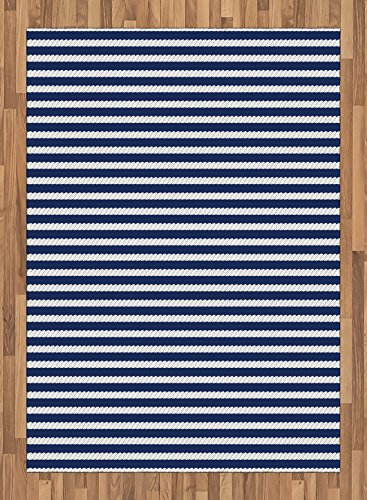 Navy Blue Area Rug By Ambesonne, Yacht Navy Marine Themed Rope Stripe  Pattern On Dark
