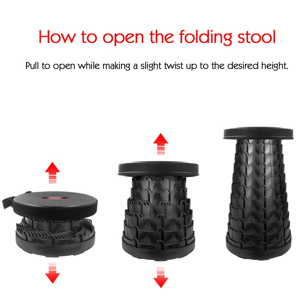 Portable Telescoping Stool Folding Camping Stool Seat for Fishing Hiking Traveling Outdoor Activities