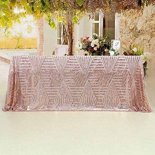 Table Decorations For Prom (SoarDream Sequin Tablecloth Sparkly 90x132 inch Rose Gold Diamond Shimmer Glamorous Tablecloth Wedding Party Birthday)