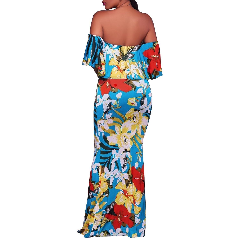 Dynen Women\'s Floral Print Off Shoulder Ruffle Party Long Maxi Dress ...