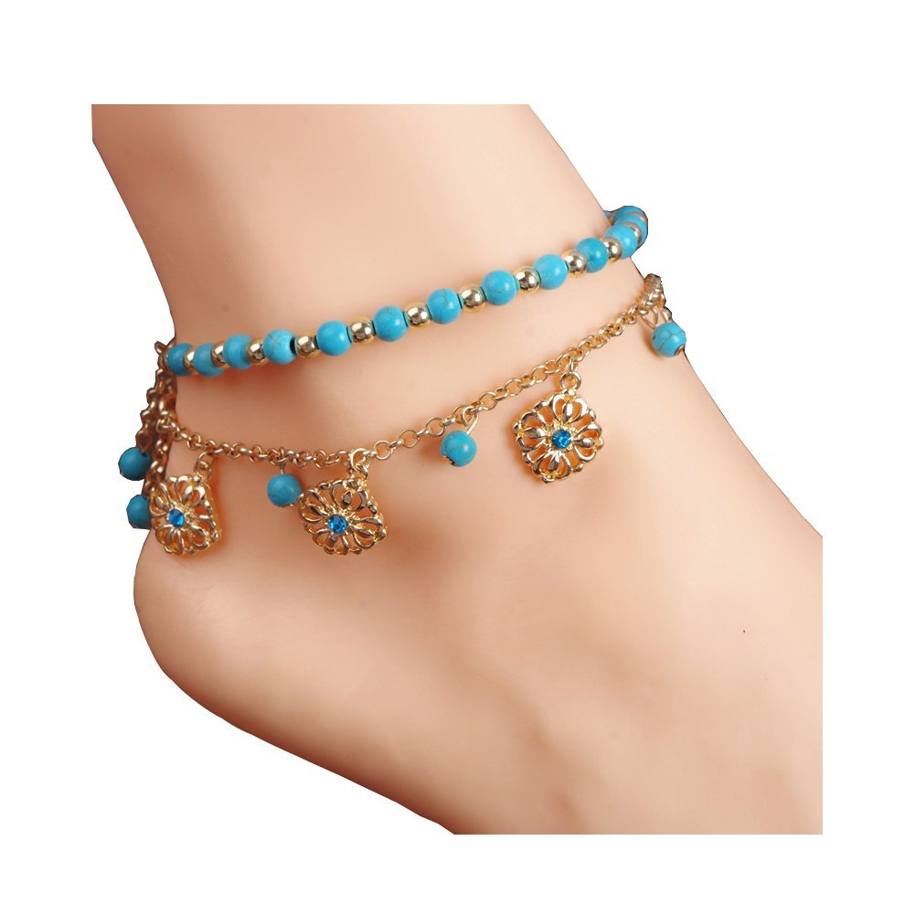 Spiritlele Boho Layered Turquoise Beads Anklet Crystal Flower Tassel Sandal Beach Foot Chain for Women HLL-007-1
