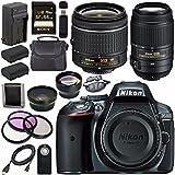 Nikon D5300 DSLR Camera with AF-P 18-55mm VR Lens (Grey) 55-300mm f/4.5-5.6G ED VR Lens + EN-EL14 Replacement Lithium Ion Battery + External Rapid Charger + Carrying Case Bundle