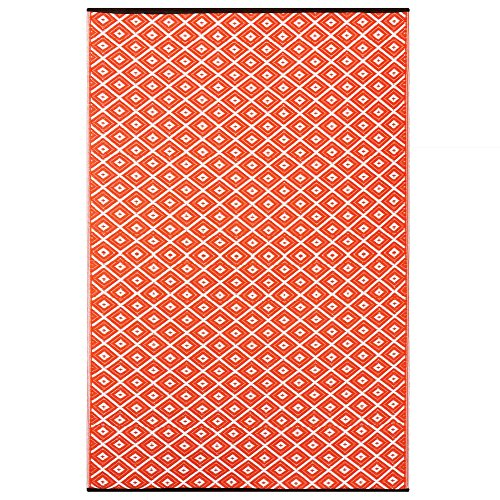 Outdoor/ Light Weight/ Reversible Eco Plastic Rug (6 x 9, Orange / White) by Green Decore