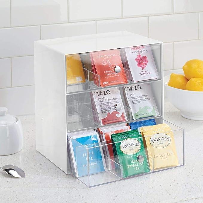 mDesign Organizador de cocina para bolsas de té, cápsulas de café ...