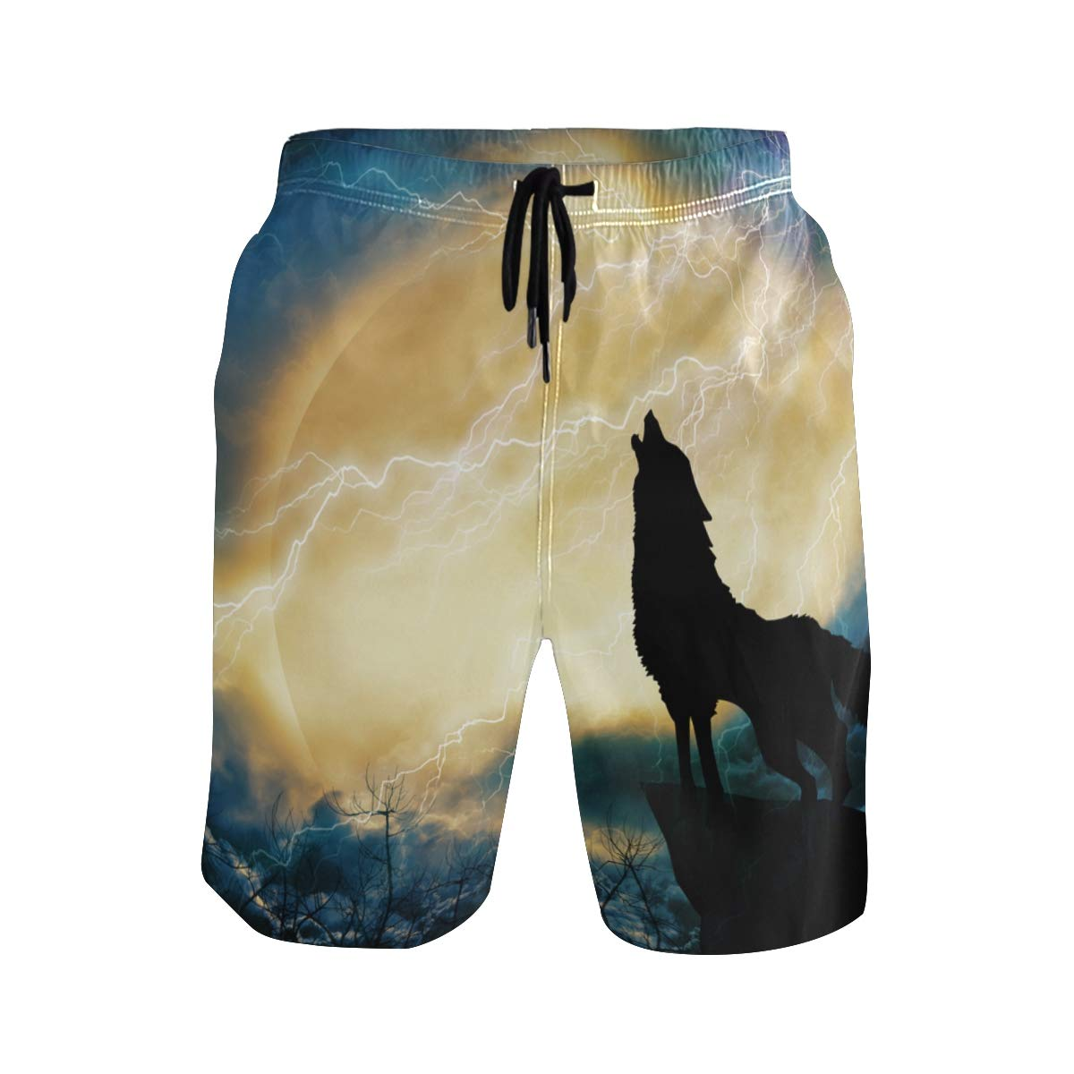 Mens Swim Trunks Quick Dry Wolf in Silhouette Howling to Thunderstorm Printed Holiday Beach Board Shorts with Mesh Lining