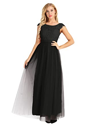 iEFiEL Women Ladies Lace Tulle Bridesmaid Dress Long Evening Prom Gown Black UK Size 8/
