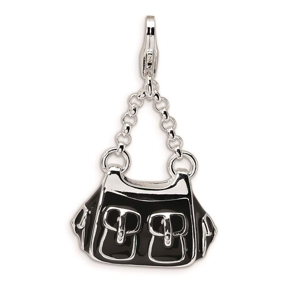 Amore La Vita Collection 925 Sterling Silver 3-D Enameled Black Handbag w// Lobster Clasp Charm