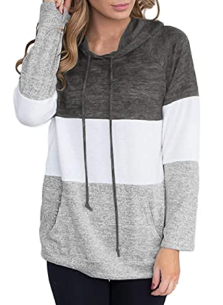 03a761f7197 FARYSAYS Women s Plus Size Color Block Long Sleeve Lightweight Pullover  Hoodies Hooded Sweatshirt Casual Tops Grey