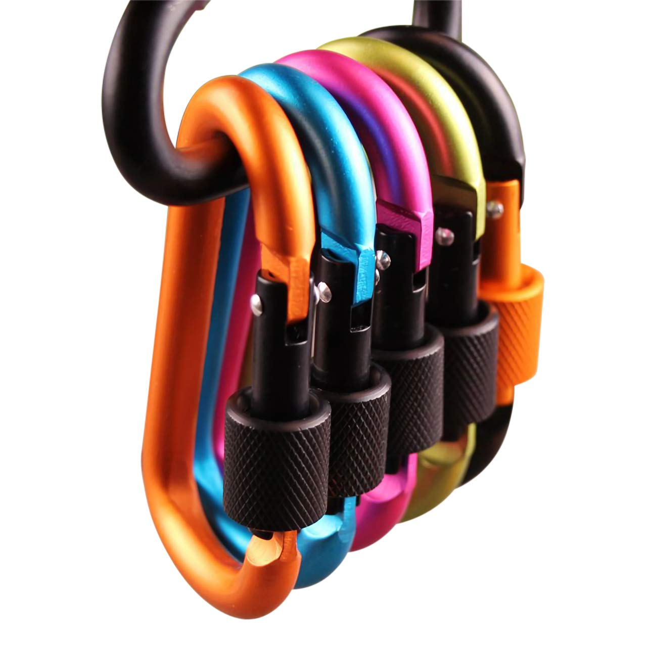 AnFun 10 Pieces Aluminum Carabiner Clip Locking Multi-Purpose D Ring Key Chain Strong Buckle Outdoor Equipment