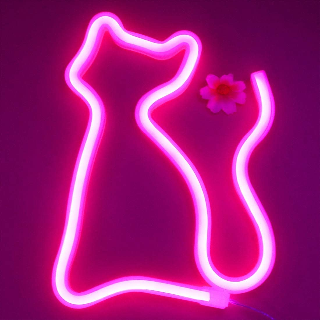 LED Cat Neon Signs Lights Wall Decor,Battery or USB Operated for Room,Wall Decor Table LED Neon Light Sign,Decorative for Bar,Christmas,Home Party, Wedding Birthday Kids or Girls Room(Pink Cat)